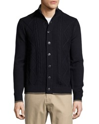 Neiman Marcus Cable Knit Stand Collar Cardigan Dark Midni