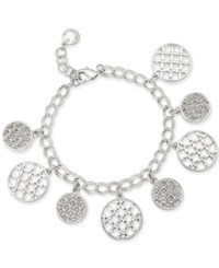 Charter Club Silver Tone Crystal Shaky Bracelet 17 1 Extender Created For Macy's Grey