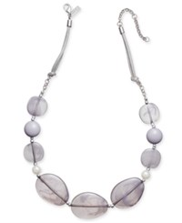Inc International Concepts Mixed Stone Necklace Only At Macy's Grey