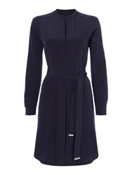 Episode Roll Sleeve Shirt Dress With Waist Tie Navy