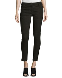 Michael Kors Five Pocket Skinny Leg Leather Jeans Black Women's