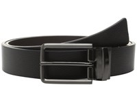 Calvin Klein 32Mm Reversible Flat Strap On Harness Buckle With Engraved Color Filled Logo Black Chocolate Blue Men's Belts