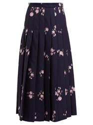 Gucci Floral Jacquard Pleated Cotton Blend Midi Skirt Navy Multi