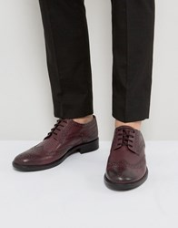 Frank Wright Brogues In Burgundy Leather Red