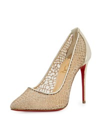 Christian Louboutin Follies Metallic Lace Red Sole Pump Silver Multicolor