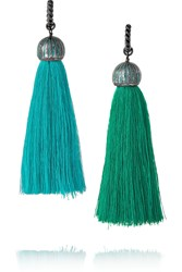 Lanvin Enameled Brass Tassel Earrings