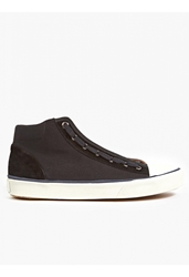 Lanvin Men's Black Canvas Hi Top Sneakers