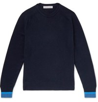 Orlebar Brown Lucas Contrast Tipped Cashmere Sweater Navy