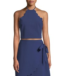 Likely Reeves Scalloped Halter Neck Crop Top Dark Blue