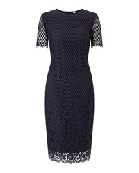 Jigsaw Floral Engineered Lace Dress Blue