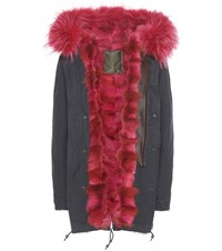 Mr And Mrs Italy Fur Lined Cotton Parka Blue