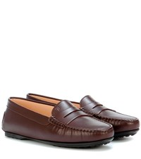 Tod's Leather Moccasin Loafers Brown