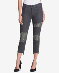 Dkny Sequined Ripped Skinny Jeans Grey