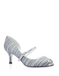 Adrianna Papell Janet Striped Peep Toe Heels Pewter