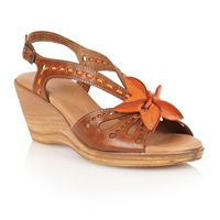 Lotus Treviso Wedge Sandals Tan