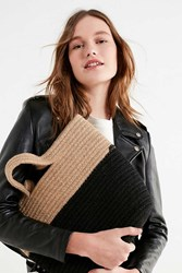 Urban Outfitters Stitched Cord Colorblocked Tote Bag Black Tan