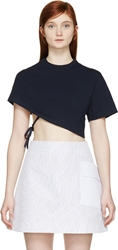 Jacquemus Navy Cropped One Sleeve T Shirt
