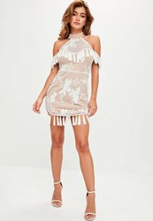 Missguided White High Neck Embroidered Dress Beige