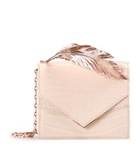 Ralph And Russo Alina Alligator Feather Clutch Female Beige