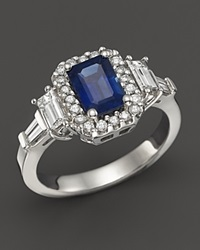 Bloomingdale's Sapphire And Diamond Halo Ring With Baguettes In 14K White Gold White Blue