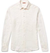 Barena Slim Fit Linen Shirt Off White