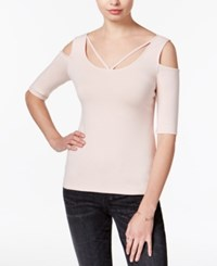 Guess Aniya Striped Cold Shoulder Top Rose Smoke