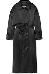 Balenciaga Belted Silk Satin Midi Dress Black