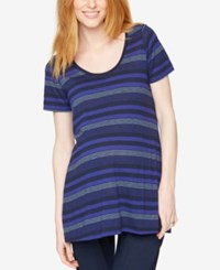 A Pea In The Pod Maternity Striped Tee Blue Heather Grey