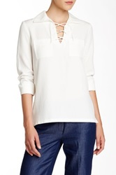 Anne Klein Lace Up Blouse White
