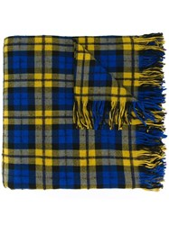 Faith Connexion Checked Fringed Scarf Blue