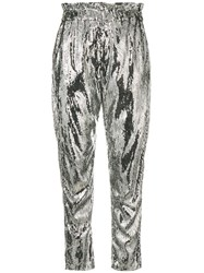Amen High Waisted Sequin Trousers Silver