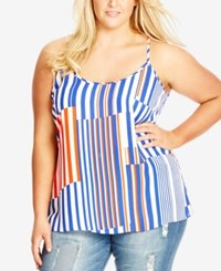 City Chic Plus Size Striped Racerback Tank Top Ivory