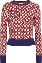 Red Valentino Ribbed Knit Paneled Cotton Blend Jacquard Sweater Red