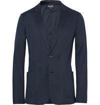 Giorgio Armani Blue Slim Fit Unstructured Jersey Blazer Navy