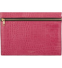 Kurt Geiger London Crocodile Effect Leather Pouch Fushia