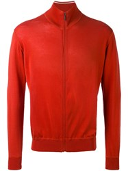 Loro Piana Knitted Bomber Jacket Men Cotton 58 Red