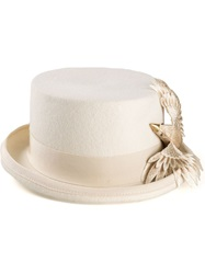 Ca4la Bird Embellished Top Hat White