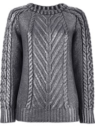 Alberta Ferretti Cable Knit Sweater Grey