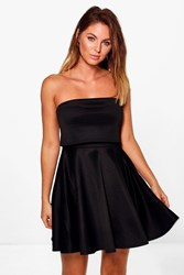 Boohoo Double Layered Bandeau Skater Dress Black