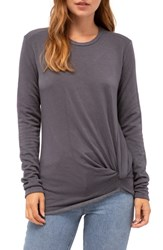 Stateside Twist Front Fleece Sweatshirt Charcoal
