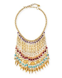 Sequin Bold Multicolor Beaded Statement Necklace Yellow Pattern