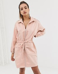 ea25be35e7 Missguided Oversized Shirt Dress With Zip Through In Pink