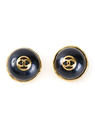 Chanel Vintage Stone Clip On Earrings Blue