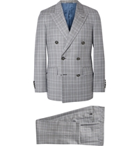 Hackett Grey Double Breasted Prince Of Wales Checked Wool Suit Gray