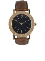Bulgari Vintage 18K Yellow Gold Classic Leather 33Mm Watch Gold One Colour