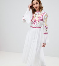 Frock And Frill Embellished Top Pleated Midaxi Dress White
