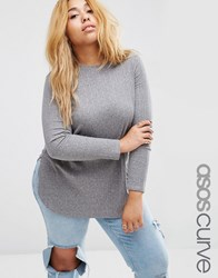Asos Curve Tunic Top With Side Splits And Curve Hem Grey