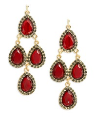 Cara Faceted Teardrop Chandelier Earrings Red