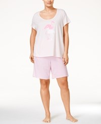 Nautica Plus Size Flamingo Top And Bermuda Shorts Pajama Set Flamingo Blushing Bride