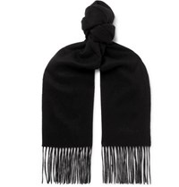 Mulberry Logo Embroidered Fringed Cashmere Scarf Black